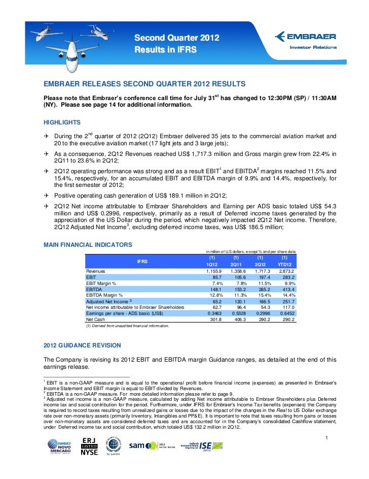 Second Quarter 2012                                                Results in IFRSEMBRAER RELEASES SECOND QUARTER 2012 RES...