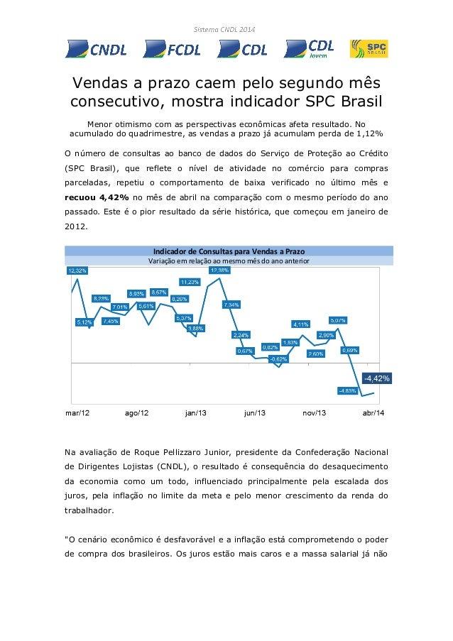 Vendas a prazo caem pelo segundo mês consecutivo, mostra indicador SPC Brasil Menor otimismo com as perspectivas econômica...