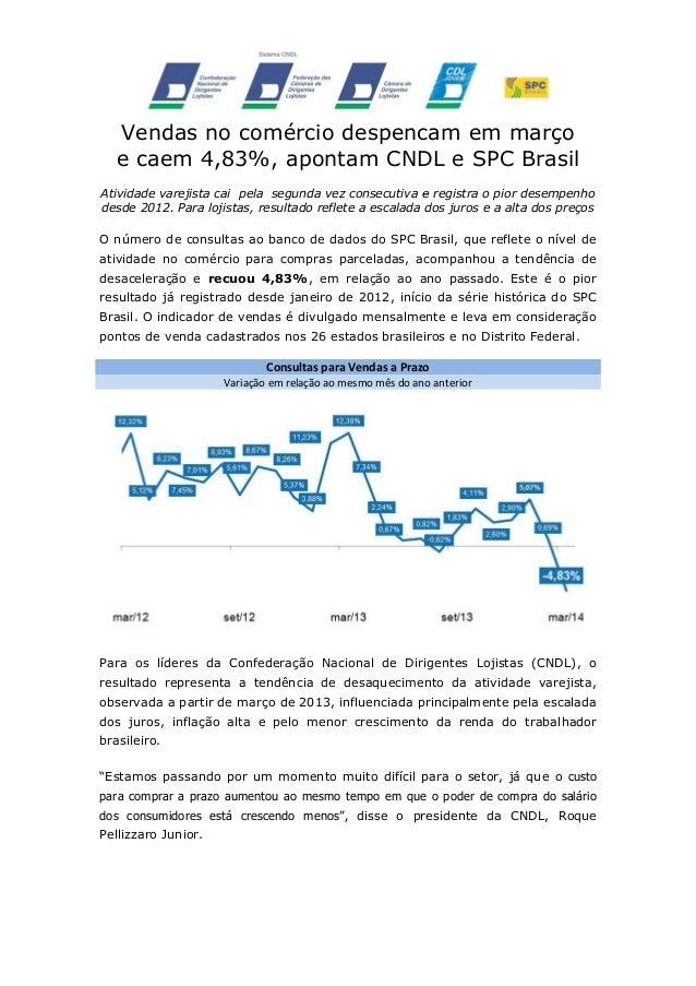 Vendas no comércio despencam em março e caem 4,83%, apontam CNDL e SPC Brasil Atividade varejista cai pela segunda vez con...