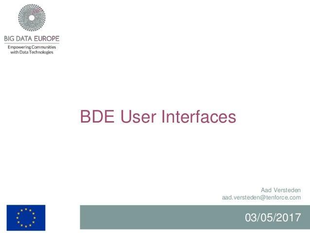 BDE User Interfaces Aad Versteden aad.versteden@tenforce.com 03/05/2017