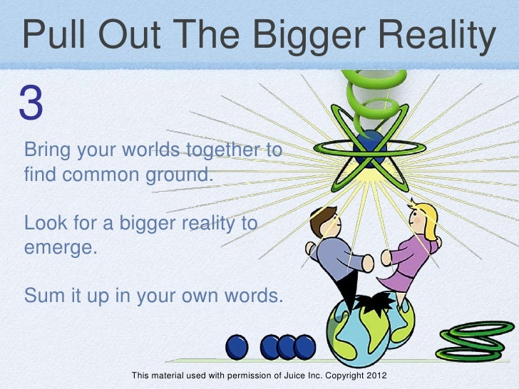 Pull Out The Bigger Reality3Bring your worlds together tofind common ground.Look for a bigger reality toemerge.Sum it up i...