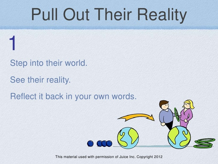 Pull Out Their Reality1Step into their world.See their reality.Reflect it back in your own words.             This materia...