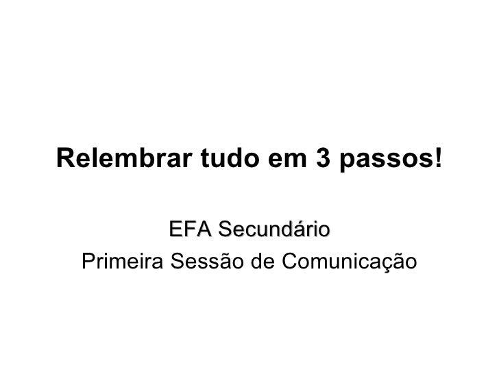 Relembrar tudo em 3 passos! EFA Secundário Primeira Sessão de Comunicação