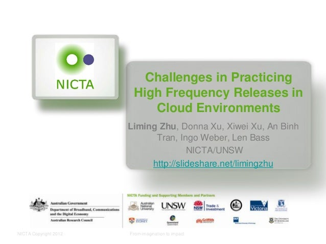 NICTA Copyright 2012 From imagination to impact Challenges in Practicing High Frequency Releases in Cloud Environments Lim...