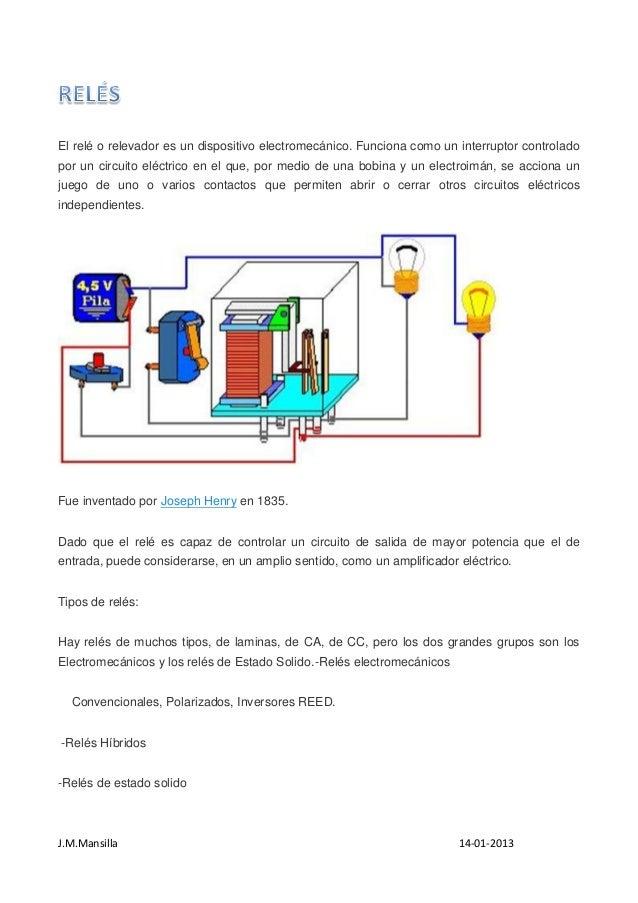 J.M.Mansilla 14-01-2013 El relé o relevador es un dispositivo electromecánico. Funciona como un interruptor controlado por...
