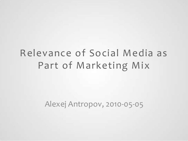 Relevance of Social Media as Part of Marketing Mix  Alexej Antropov, 2010-05-05