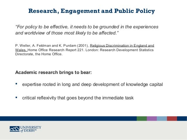 Relevance, responsiveness, rigour and responsibility in policy related research on religion or belief Slide 2