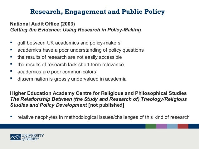 Relevance, responsiveness, rigour and responsibility in policy related research on religion or belief Slide 3