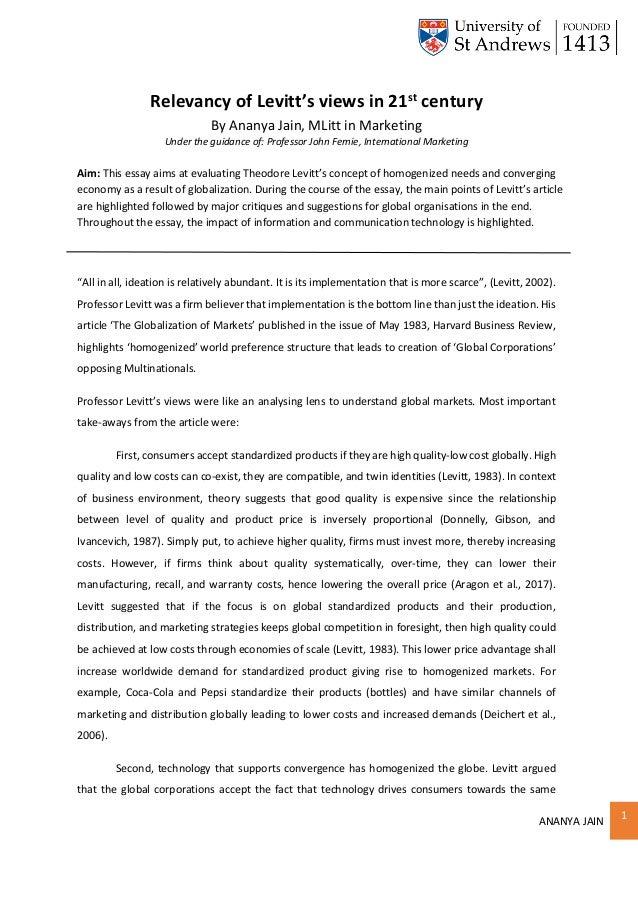 ANANYA JAIN 1 Relevancy of Levitt's views in 21st century By Ananya Jain, MLitt in Marketing Under the guidance of: Profes...