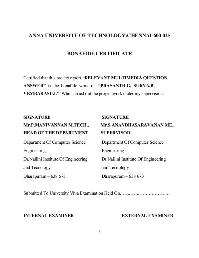 """2 ANNA UNIVERSITY OF TECHNOLOGY:CHENNAI-600 025 BONAFIDE CERTIFICATE Certified that this project report """"RELEVANT MULTIMED..."""