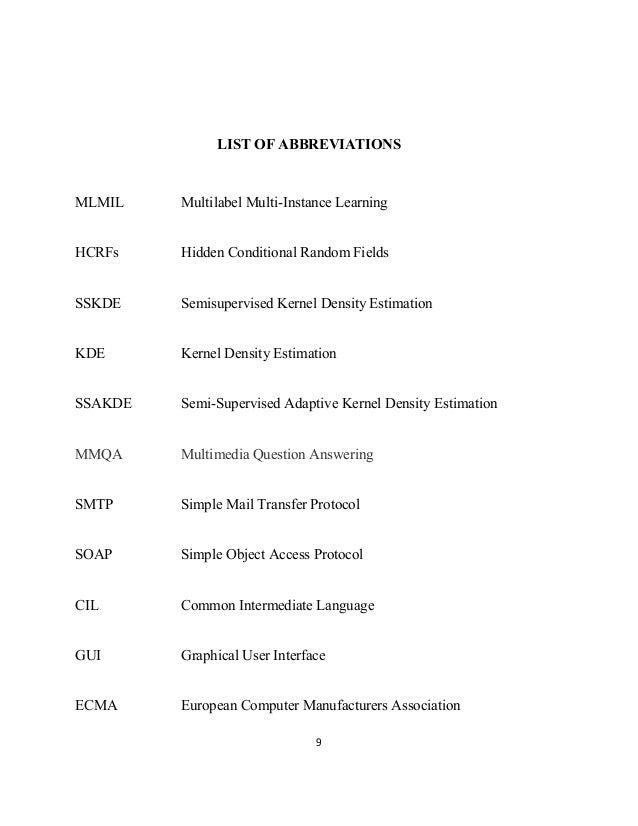 9 LIST OF ABBREVIATIONS MLMIL Multilabel Multi-Instance Learning HCRFs Hidden Conditional Random Fields SSKDE Semisupervis...