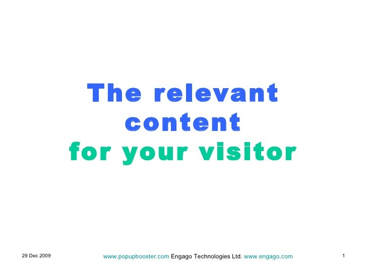 The relevant content for your visitor