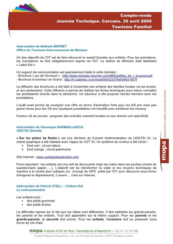 Relev de conclusions journ e tourisme familial 30 avril - Office de tourisme de carcans ...