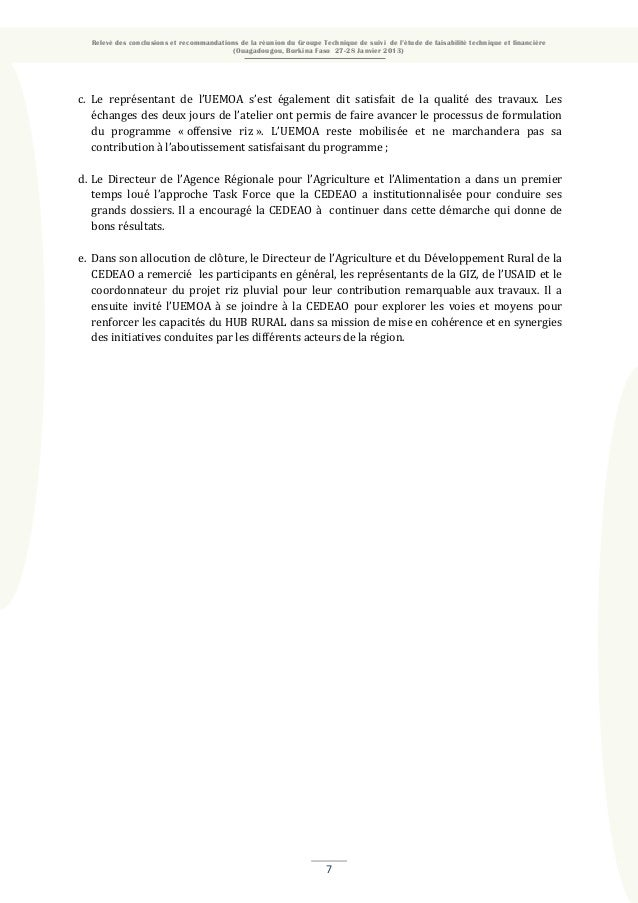 Relevé des conclusions et recommandations de la réunion du Groupe Technique de suivi de l'étude de faisabilité technique e...