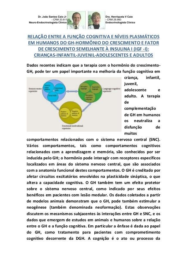 RELAÇÃO ENTRE A FUNÇÃO COGNITIVA E NÍVEIS PLASMÁTICOS EM HUMANOS DO GH-HORMÔNIO DO CRESCIMENTO E FATOR DE CRESCIMENTO SEME...