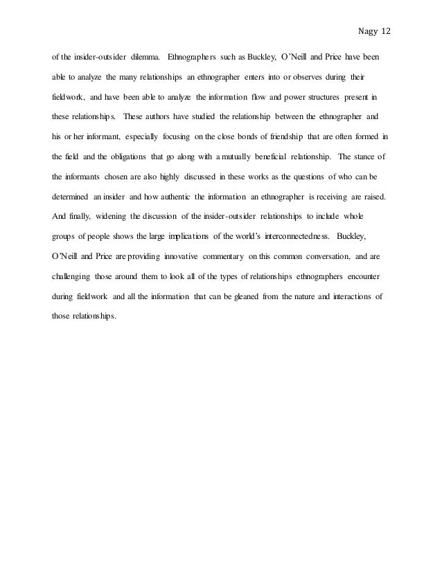 review essay outlining the complexities of the insider outsider relat   12