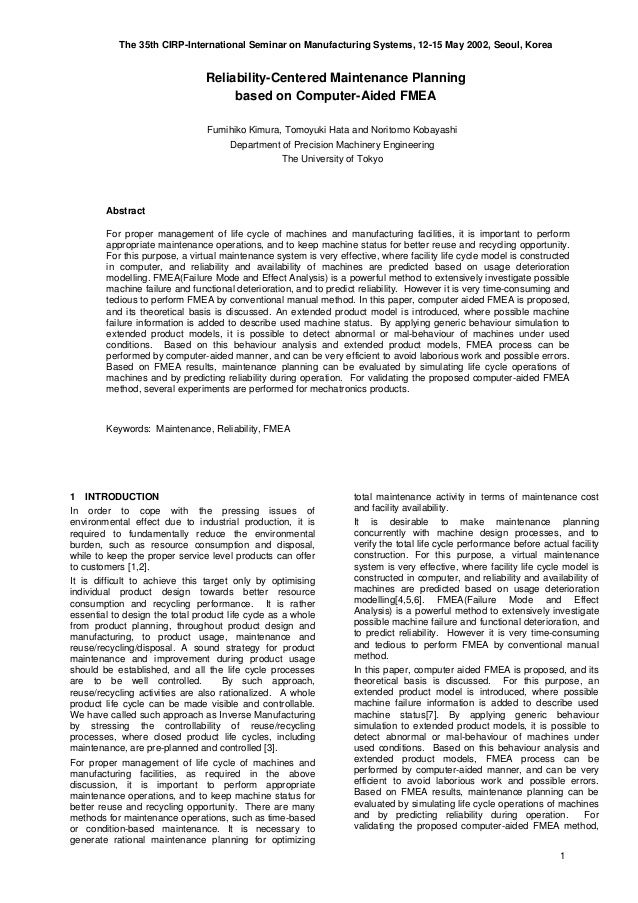 The 35th CIRP-International Seminar on Manufacturing Systems, 12-15 May 2002, Seoul, Korea 1 Reliability-Centered Maintena...