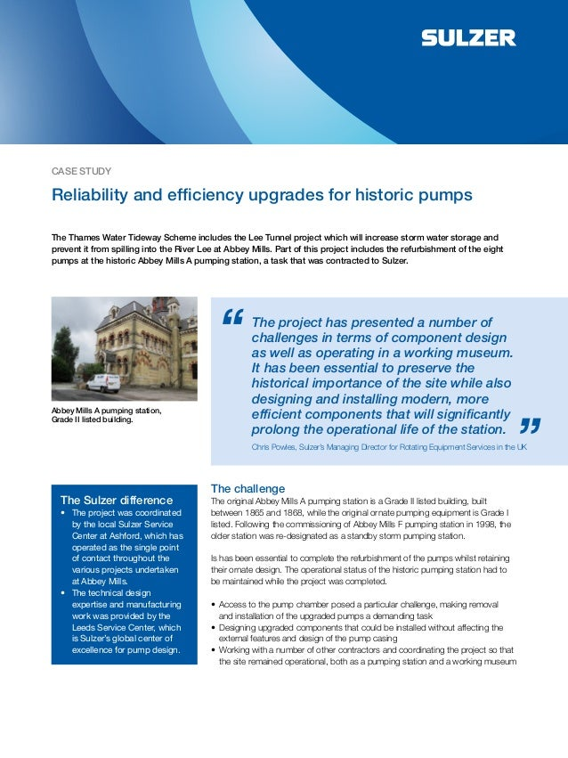 Reliability and Efficiency Upgrades for Historic Pumps