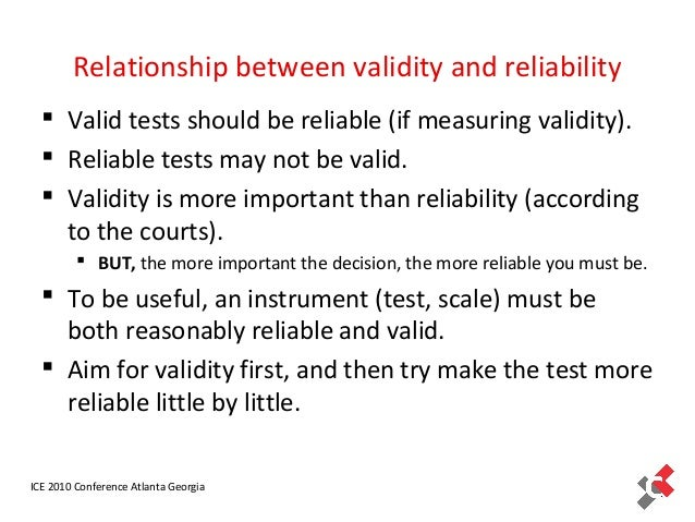 validity is more critical to measurement than reliability One of the difficulties is that there are more than one source of measurement errors in  test a critical view of validity  to reliability & validity.