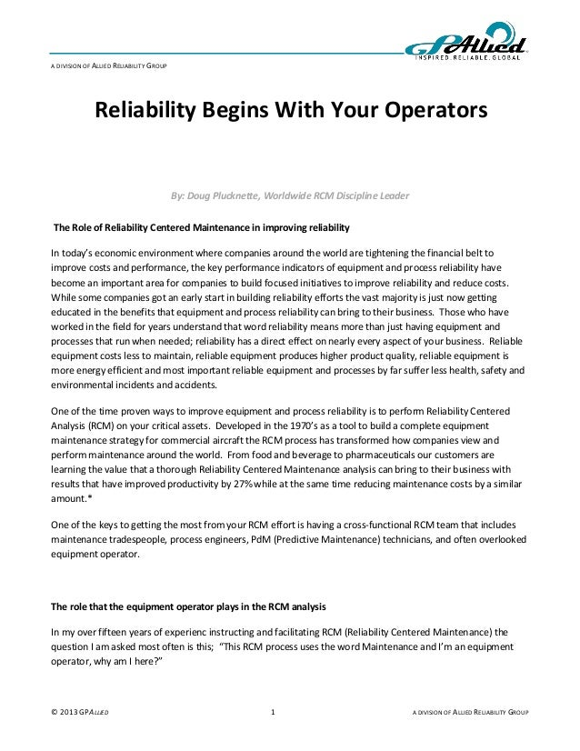 A DIVISION OF ALLIED RELIABILITY GROUP              Reliability Begins With Your Operators                                ...