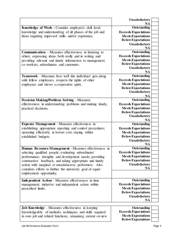 Reliability Engineer Performance Appraisal