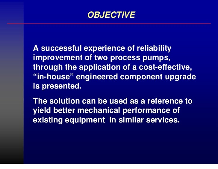 Reliability factors of pumps