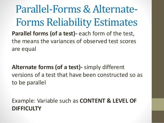 example of reliability in assessment