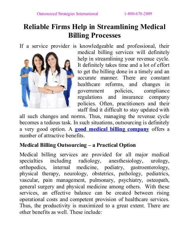 Outsourced Strategies International 1-800-670-2809 Reliable Firms Help in Streamlining Medical Billing Processes If a serv...