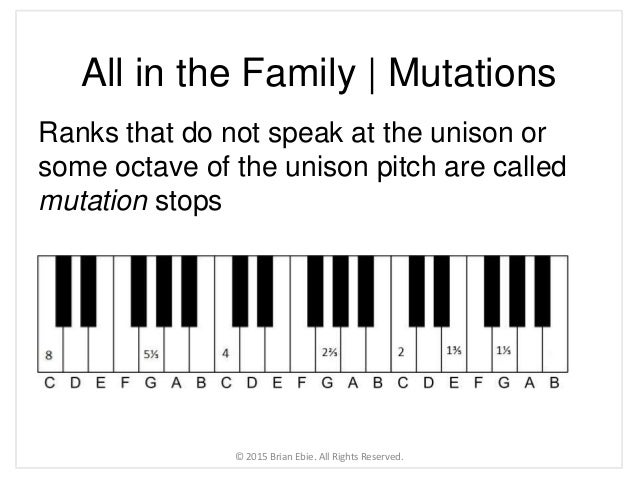 All in the Family   Mutations Ranks that do not speak at the unison or some octave of the unison pitch are called mutation...