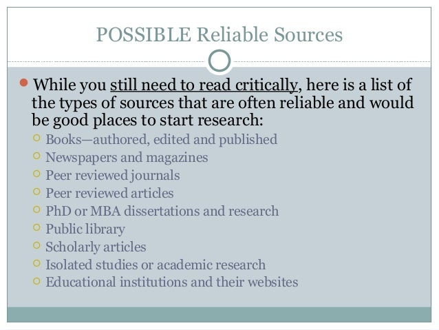 reliable resources for research