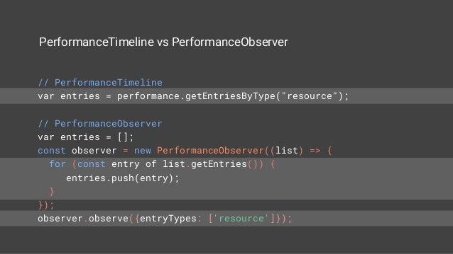 LongTasks via PerformanceObserver const observer = new PerformanceObserver((list) => { for (const entry of list.getEntries...