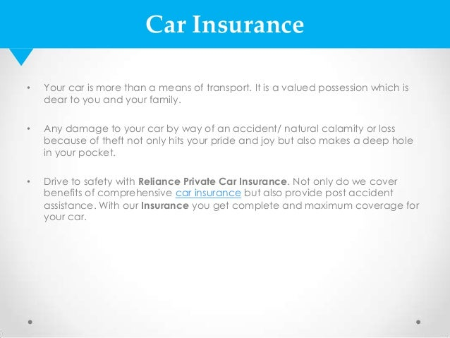 Image of: Depreciation Car Insurance Slideshare Car Insurance Policy By Reliance General Insurance