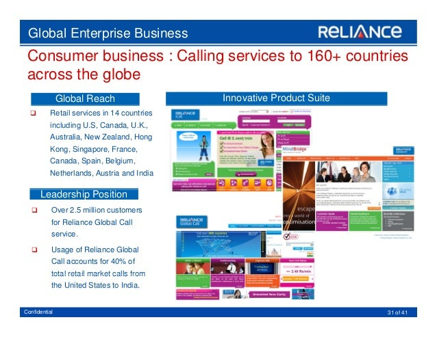 Reliance Global Call from US to India is poor quality, pathetic and totally un-reliable. Call quality is very bad. Even if you keep trying the quality does not change. In the conversations you miss 20 to 30 seconds of the talk. In addition to poor quality calls, some times the call Location: Pennsville, New Jersey.
