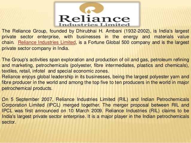 reliance industries limited and csr activities essay Corporate governance and corporate social responsibility essay sample pages: 13 word count: board committees' and corporate social responsibility activities three companies, namely itc ltd, reliance industries ltd.