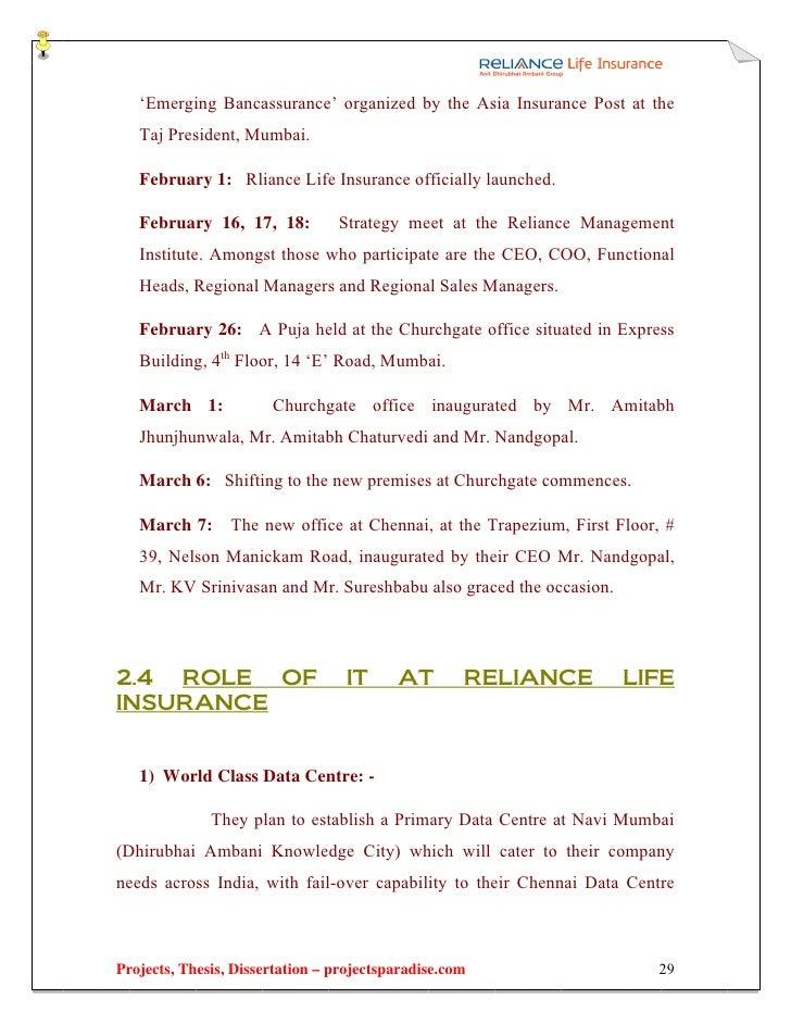 Tows matrix of reliance life insurance company