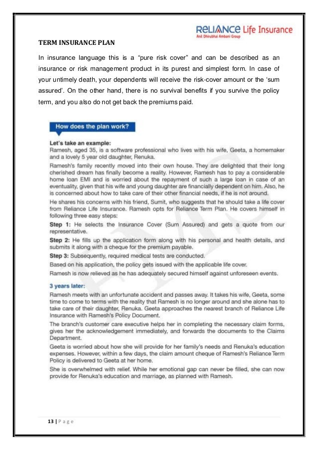 reliance life insurance project essay Discuss banking & insurance 100 marks project topics within the banking and insurance final 100 marks  selection and retention in reliance life insurance itz urgent.