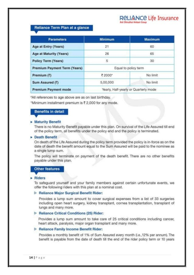 reliance life insurance project Project report on reliance life insurance company limited  submmited for partial fulfillment of the requirements of two years full time  master of.