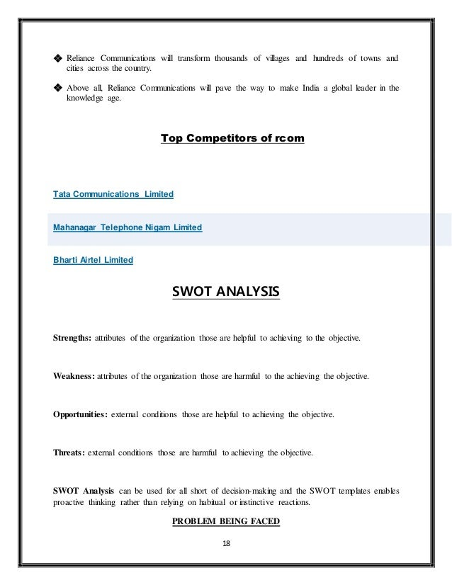 swot analysis of rcom Here is the swot analysis of vodafone which is a brand known for its deep telecom roots across multiple countries and nations the marketing by vodafone is legendary.