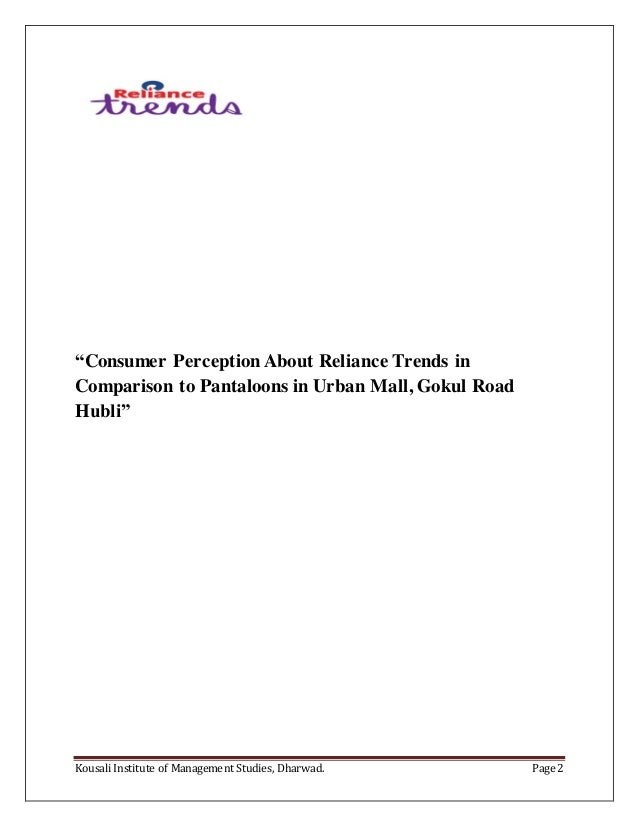 A systematic study on customer perception towards reliance trends in …