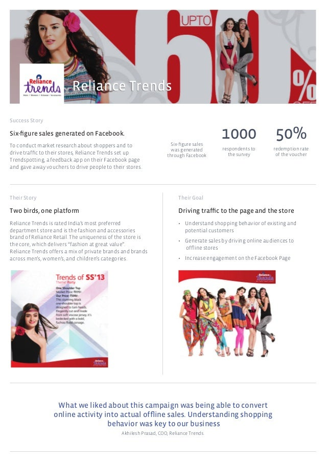 Success Story Their Story Their Goal Reliance Trends What we liked about this campaign was being able to convert online ac...