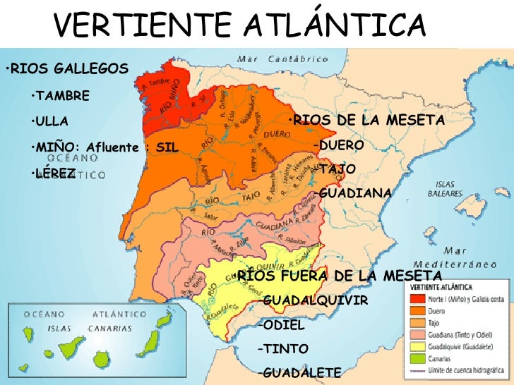 Rio Tambre Mapa Fisico.Relieve Peninsular