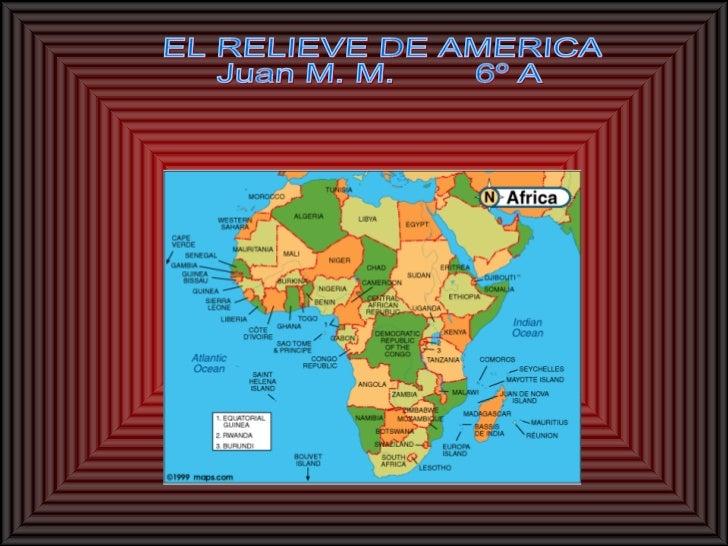 • Sus montañas son las cadenas  montañosas como la Cadena Costera , las  Montañas Rocosas los Andes .• En el este están lo...
