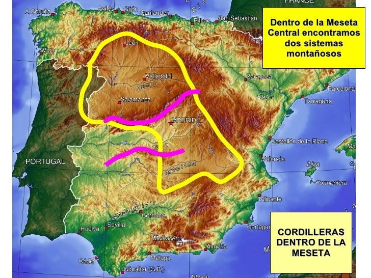 CORDILLERAS DENTRO DE LA MESETA Dentro de la Meseta Central encontramos dos sistemas montañosos