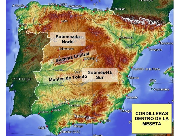 Sistemas Beticos Mapa Fisico.Relieve Fisico De Espana