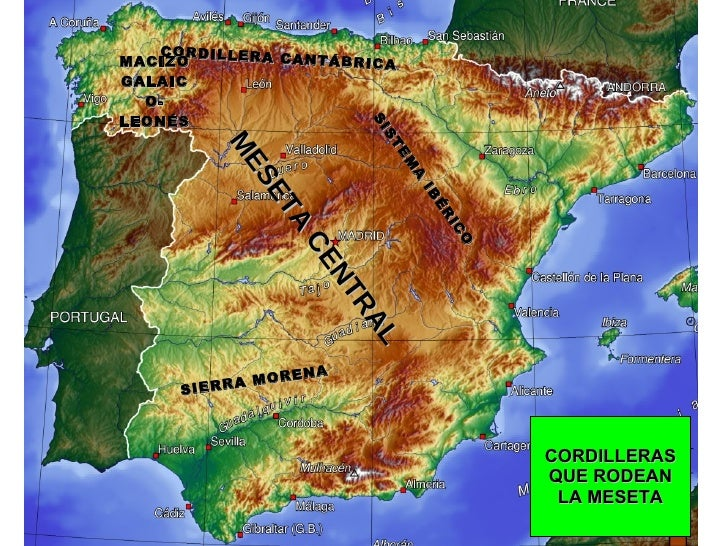 MESETA CENTRAL CORDILLERA CANTÁBRICA SIERRA MORENA SISTEMA IBÉRICO MACIZO GALAICO-LEONÉS CORDILLERAS QUE RODEAN LA MESETA