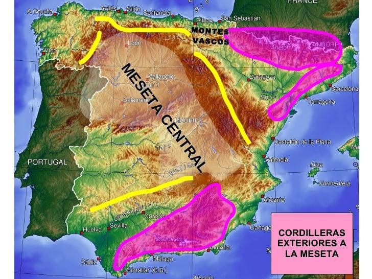 CORDILLERAS EXTERIORES A LA MESETA MESETA CENTRAL MONTES  VASCOS