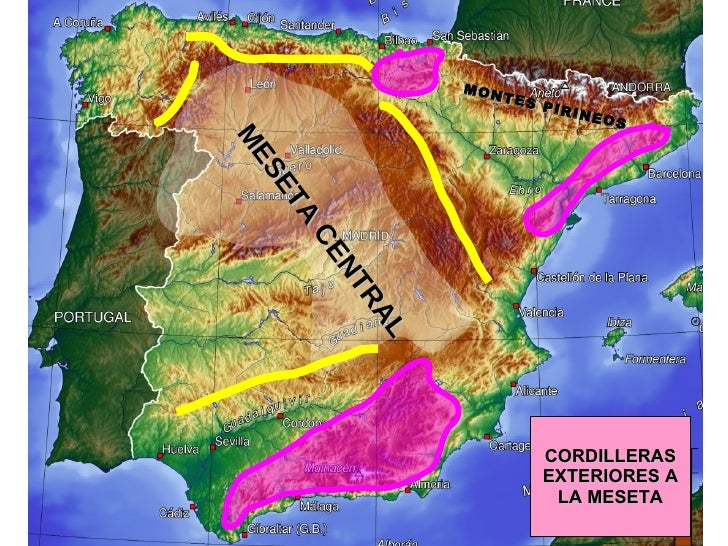 CORDILLERAS EXTERIORES A LA MESETA MESETA CENTRAL MONTES PIRINEOS