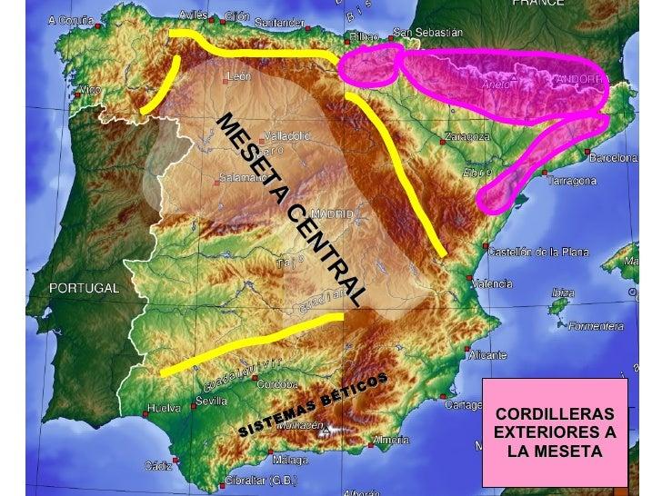 CORDILLERAS EXTERIORES A LA MESETA MESETA CENTRAL SISTEMAS BÉTICOS