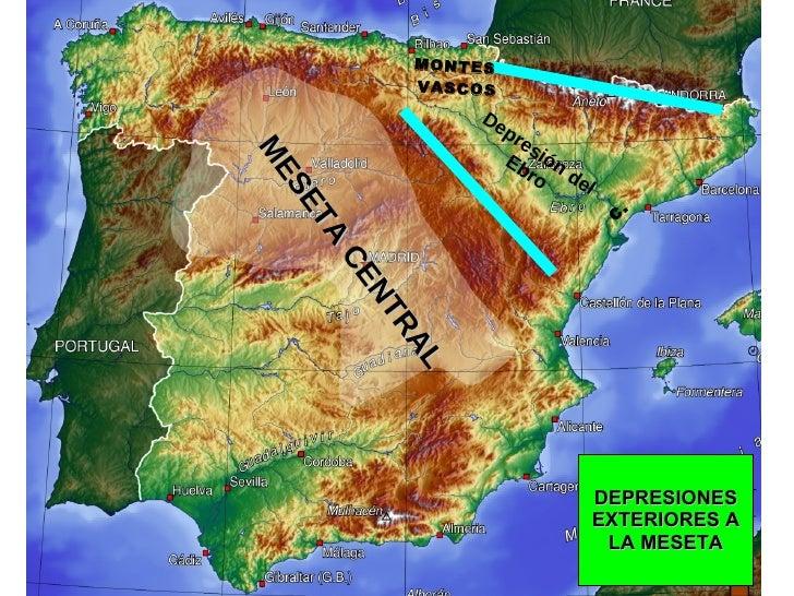 DEPRESIONES EXTERIORES A LA MESETA Depresión del Ebro C.  MONTES  VASCOS MESETA CENTRAL