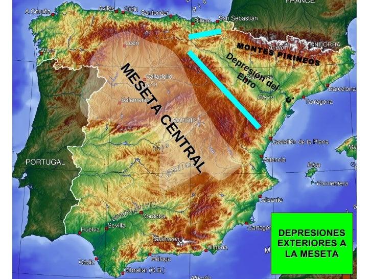 DEPRESIONES EXTERIORES A LA MESETA Depresión del Ebro C.  MONTES PIRINEOS MESETA CENTRAL